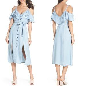 NWT - BB Dakota Caite Chambray Cold Shoulder Dress